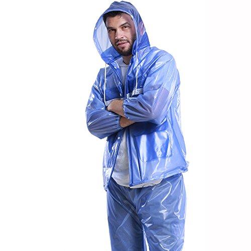 HGXC WY Regenmantel Regenanzug, selbstleuchtende transparente Erwachsene Männer und Frauen im Freien Reiten Split Motorrad Regenmantel draussen (Farbe : E, größe : XXXL)