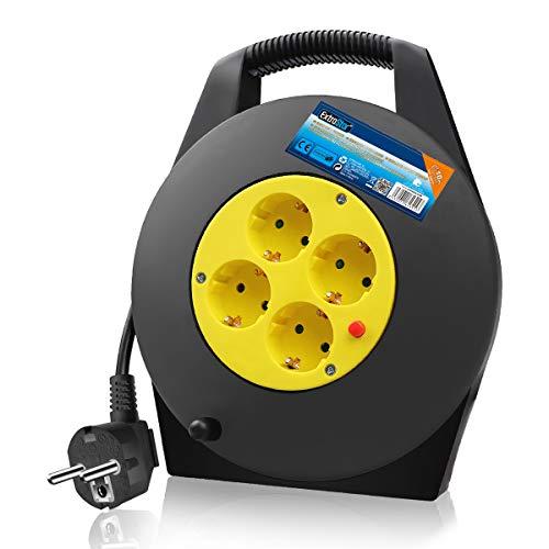ExtraStar Kabelbox 10M, IP20 - H05VV-F3G1,5mm², Thermoschutz-Schalter, Kabeltrommel Indoor mit 4 Steckdosen, Kindersicherung, Verlängerungskabel, CE geprüft (2P+T)
