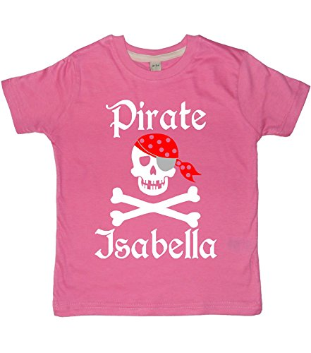 Edward Sinclair 1-2 Years Bubblegum Pink Personalised Children's T-Shirt 'Pirate Skull and Cross Bones' with White, Red & Silver Print