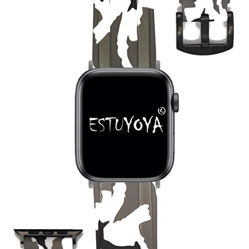 ESTUYOYA - Cinturino in Silicone Compatibile con iWatch Colori Camouflage Militare Regolabile Morbido Sportivo Elegante per 42mm Serie 44mm 5/4/3/2/1 Nike + - Bianco