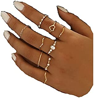 Cathercing 9 Pcs Women Rings Set Knuckle Rings Gold Bohemian Rings for Girls Vintage Gem Crystal Rings Joint Knot Ring Set...