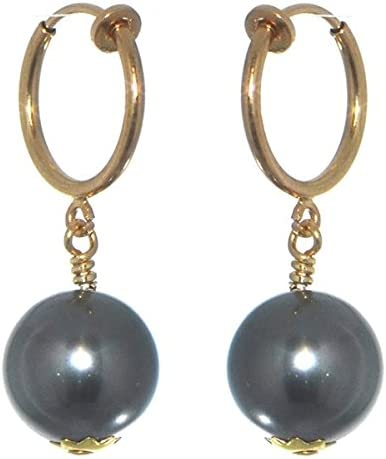 LINDSEY CERCEAU 12mm Gold Plated Dark Grey Clip On Earrings