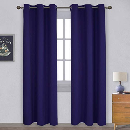 NICETOWN Window Treatment Energy Saving Thermal Insulated Solid Grommet Blackout Curtains/Drapes for Living Room (Navy Blue, 1 Pair, 42 by 84-Inch)