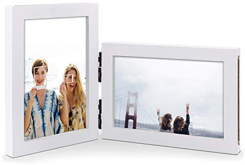 JD Concept 13 x 18 cm Vertikale horizontale Kombination, doppel Weiß Scharnier Holz-Bilderrahmen, Vorder- und Rückseite Fotodisplay, Zweiwege-Faltung (Lackrahmen mit Gls)