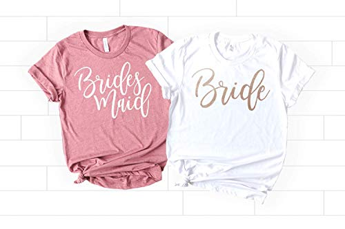 Bachelorette Party Shirts, Soft Crew Neck and V-Neck Customizable T-Shirts For the Bride, Bridesmaid, Maid of Honor, Matron of Honor, Mother of the Bride with Rose Gold Foil Designs