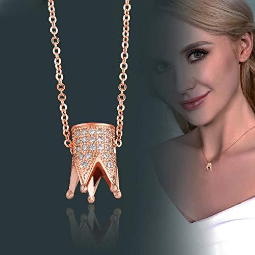 LYWZX Collares para Mujer,Collar con Colgante De Corona De Incrustaciones De Circonio Cúbico Joyas De Cadena De Gargantilla De Color Plata Y Oro Rosa
