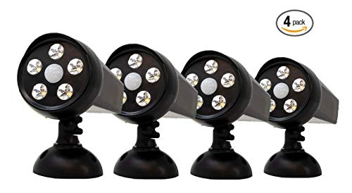 Guardian Tech Security Torch LED Spotlight [4-Pack] | Solar Motion Detector Lights for Outside | High Powered Spot Light | Mountable Bright Wireless Spotlight Outdoor