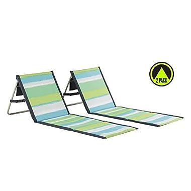 Lightspeed Outdoors 2-Pack Lounger Park and Beach Chair (Green Stripes)