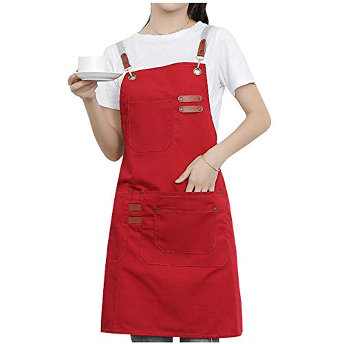 Watwass Rojo Delantal Camarero Peluqueria Chef Ajustables Delantal Cocina Hornear Jardín Barbacoa