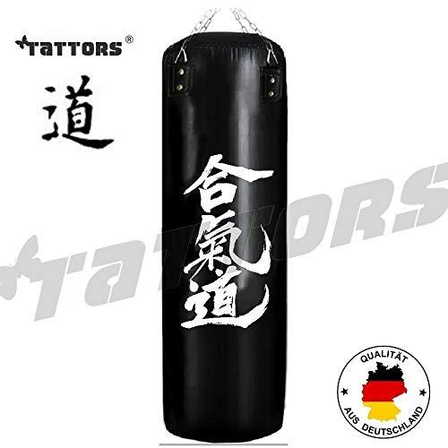 Tattors Sandsack Boxsack Heiqidao Leder original 120cm mit Halterung + Handschuhe NEU (Heqidao Schwarz Leder)