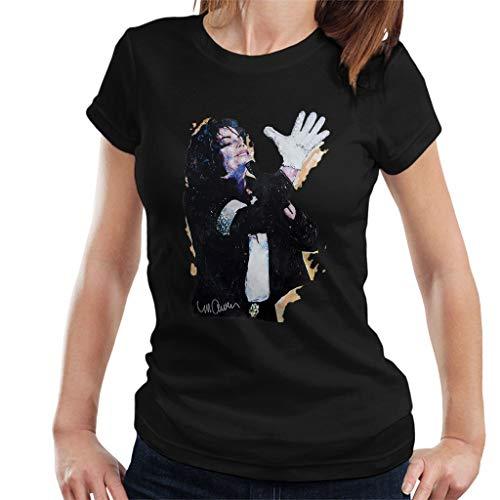VINTRO Michael Jackson White Glove Vrouwen T-shirt Original Portrait van Sidney Maurer