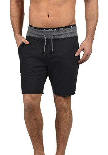 Blend Julio Herren Sweatshorts Kurze Hose Sport- Shorts aus hochwertiger Baumwollmischung Meliert, Größe:L, Farbe:Black (70155)