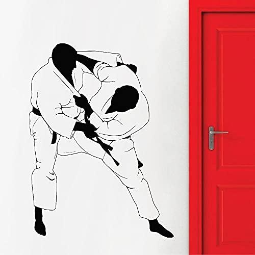 Calcomanía de pared de artes marcialesarte Jiu-Jitsudeportes de luchavinilopegatina de paredgimnasiogimnasioMural autoadhesivo A2 42x31cm