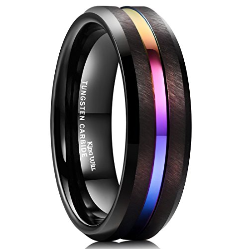 King Will LOOP 8mm Tungsten Carbide Ring Rainbow Color Thin Groove Wedding Band Beveled Edge Comfort Fit(9.5)