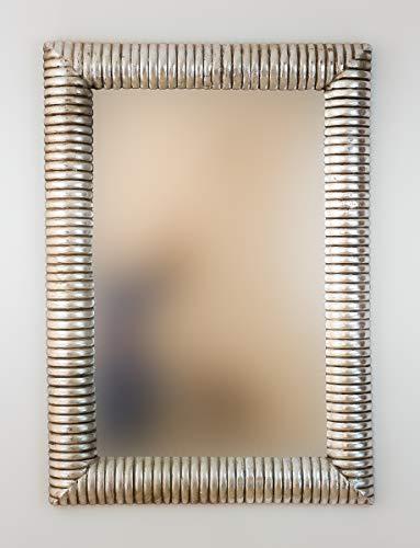 Rococo Espejo Decorativo de Madera Bambu Espiral de 70x100cm en Plata (Envejecida)