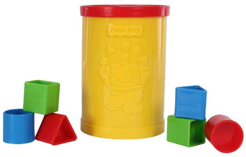 Fisher Price Original Baby's Plastic First Blocks, To Sort, Stack and Drop, Yellow
