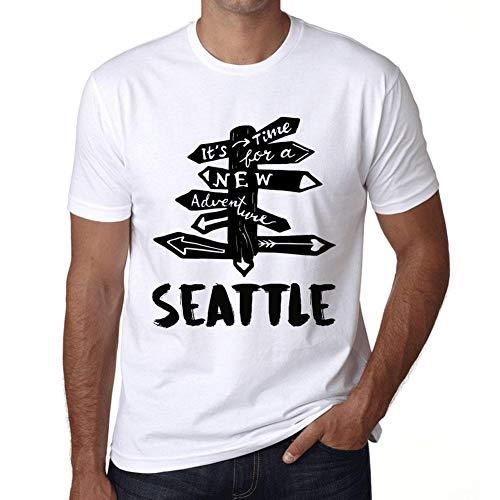 Hombre Camiseta Vintage T-Shirt Gráfico Time For New Advantures Tucumán Blanco
