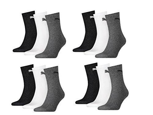 PUMA Unisex Short Crew Socken Sportsocken MIT FROTTEESOHLE 12er Pack (white-grey-black, 39-42)