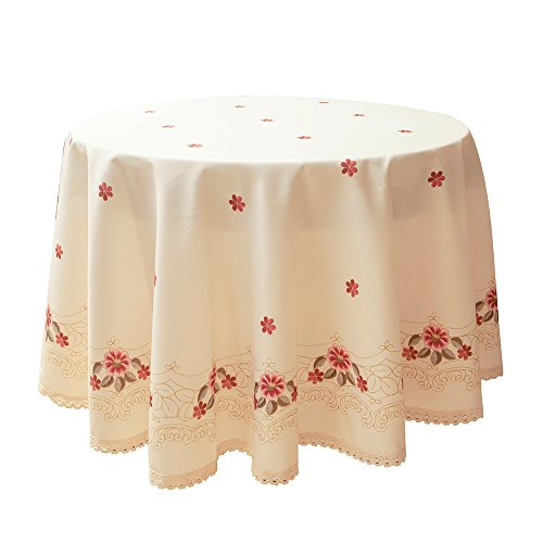 Decorative Red Floral Print Lace Water Resistant Tablecloth Wrinkle Free and Stain Resistant Fabric Tablecloths for Round Table 70 Inch by 70 Inch