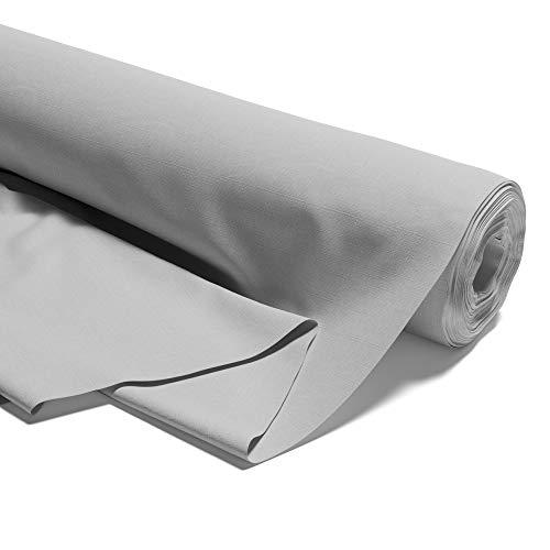 Tela de algodón lisa por metros, 100% algodón, para costura, certificado Öko-Tex Standard (Gris, 200 x 160 cm)