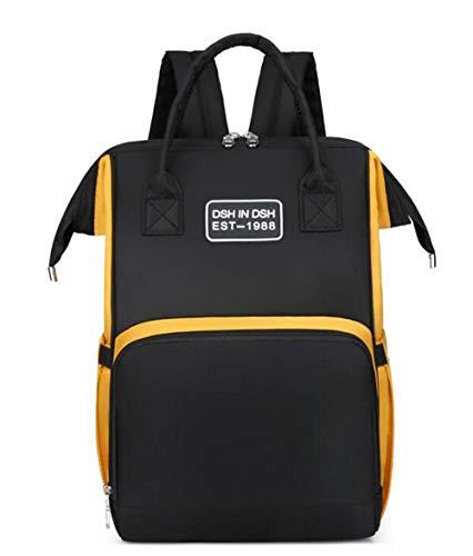 Etyybb bolsas de pañales para bebés multifunción de gran capacidad bolsa cambiador para bebés mochila cochecito con cordones mochila de viaje-amarillo_L