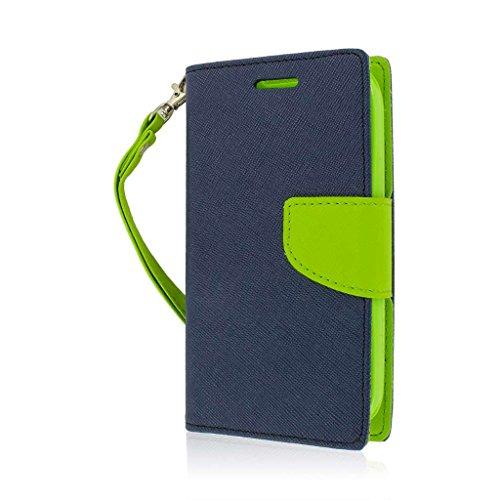 MPERO Flex Flip Wallet Stand Case for Kyocera Hydro Icon - Blue/Neon Green