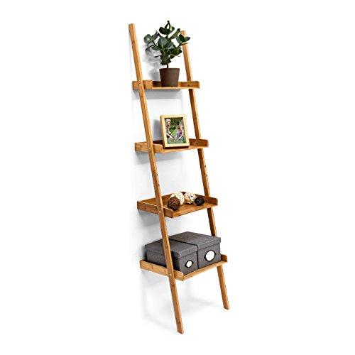 Relaxdays-Estantería Estilo Escalera de bambú, 4estantes: 176x 44x 37cm, para salón, Cuarto de baño, Almacenamiento, Sala de Estar, Cocina, decoración, Oficina, Naturaleza