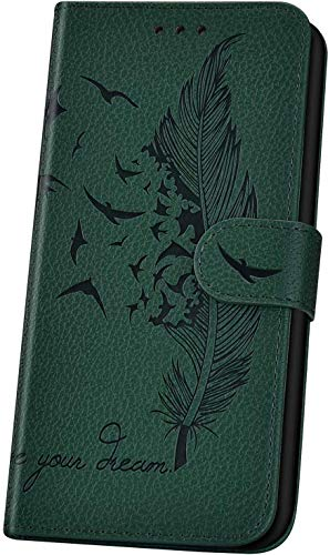 JAWSEU Handyhülle für LG K50 Hülle,Geprägt Feder Vogel Muster Schutzhülle Brieftasche PU Leder Tasche Handyhülle Lederhülle Flip Hülle Wallet Tasche Handytasche,Grün