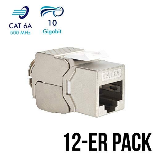 VESVITO 12x Keystone Jack Modul CAT 6A RJ45 Buchse, geschirmt, bis 10 Gigabit Ethernet, werkzeuglos, kompatibel mit CAT7A CAT7 CAT6 Netzwerkkabel, Einbaubuchse für Verlegekabel Patchpanel Patchfeld