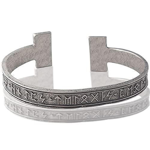 WYPAN Brazalete de Runas Vikingas Nórdico para Hombre, Pulsera Negra de Plata Antigua, Brazalete Ajustable, Joyería de Amuleto de Nudo Celta Pagano, Mejores Regalos para