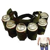 Cinturón de Cervezas,Cinturón de Cerveza Ajustable,Cinturón de Cerveza Portátil,Soporte para Cinturón de Cerveza,Cinturón de Cerveza de Camuflaje,Capacidad para 6 Bebidas,para Acampadas,Senderismo