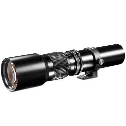 Walimex 500 mm 1:8.0 DSLR-Objektiv (Filterduchmesser 67 mm, mit ausziehbarer Gegenlichtblende) für T2 Bajonett schwarz