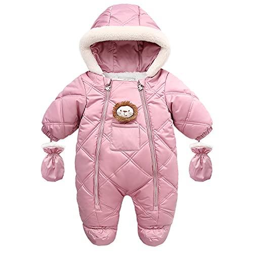 Fairy Baby Infant Baby Winter Snowsuit Coat Romper Hoodied Footie Outwear Warm Jumpsuit for Girls Boys 12-18 Months
