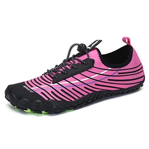 Whyeasy Bluestercool Chaussures d'eau Unisexes à Couple Séchage Rapide Printemps Été Piscine Plage Nager Plongée Shoes Chaussures Aquatiques(Rose)
