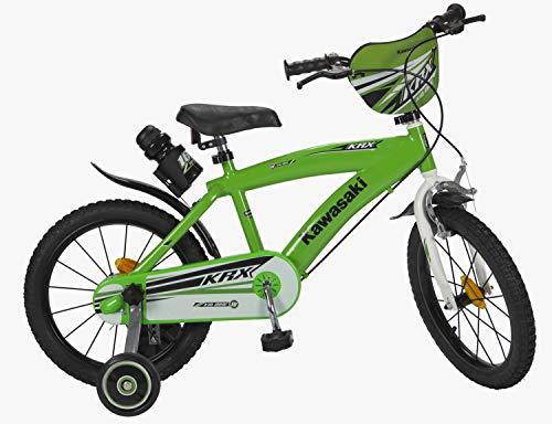 Kawasaki Kinderfahrrad Bike 16 Zoll mit Zwei Felgenbremsen, Klingel und Trinkflaschenhalter