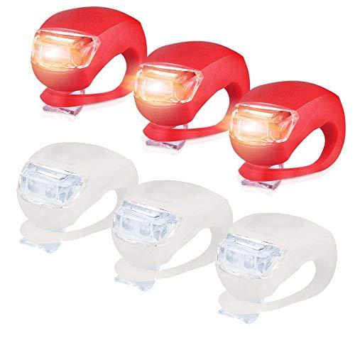 Sayla Kinderwagen Licht, 6 Stück LED Lampe Licht, LED Sicherheitslicht Silikon Leuchte Kinderwagen (3X LED Weißlicht & 3X LED rotlicht) Blinklicht Taschenlampe für Bergsteiger Zubehör (Rot)