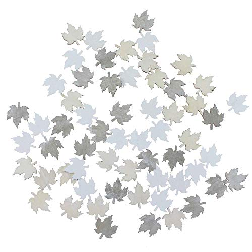 Floral-Direkt 60 Holz Streuteile Tannenbäume Sterne Blätter Deko Holzfiguren Herbst Weihnacht, AUSF:Blätter