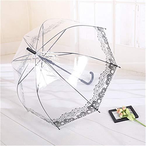 ZDAMN Spitzenschirm Britische Architektur Spitze transparenter Regenschirm romantischer gewölbter Langer Griff Regenschirm koreanischer kreativer Regenschirm Spitzenschirm für Hochzeit