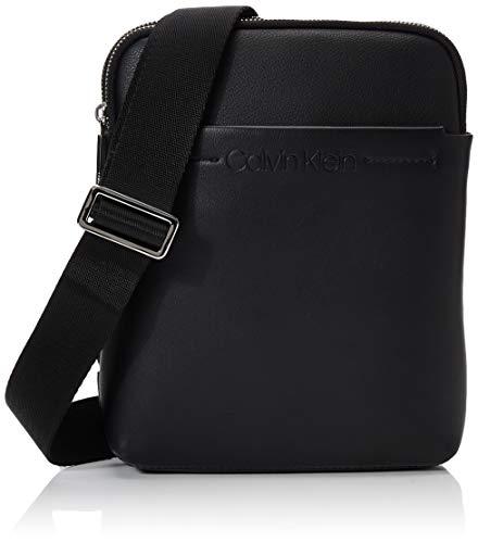 Calvin Klein Herren Flex 2g Flat Crossover Schultertasche, Schwarz (BLACK), 25x20x4cm