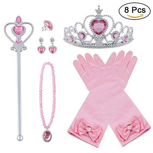 Vicloon Prinzessin Kostüme Zubehör, 8-teiliges Set Mädchen Dress up Zubehör mit 1 x Paar Elsa Handschuhe, 1 x Elsa Krone, 1 x Zauberstab, 1 x Halskette, 1 x Ring, 2 x Ohrring - Rosa