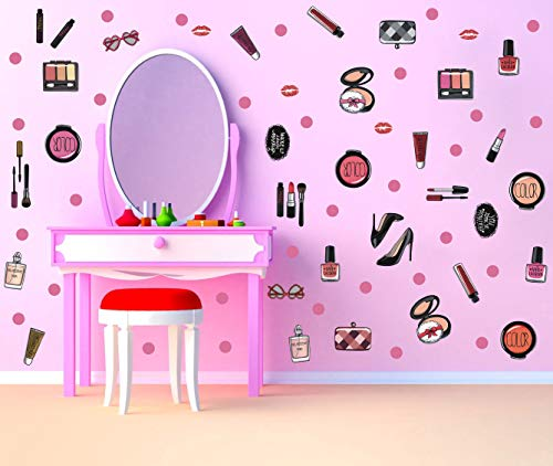 Price comparison product image TOARTi Colorful Fashion Cosmetic Wall Decal Beauty Salon Centre Makeup Wall Sticker,  Lipstick Handbag Perfume Dots Decal for Girls Women (81pcs)