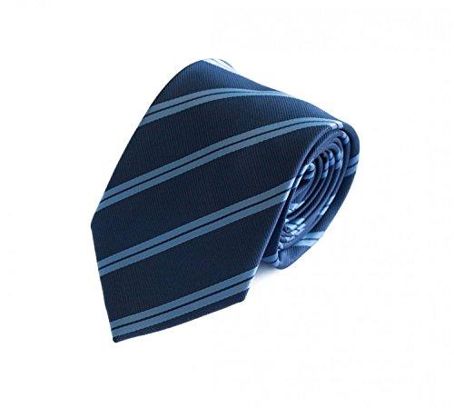 Fabio Farini - Cravate d'homme élégamment rayée pour le mariage, la confirmation, le bal en 6 ou 8 cm au choix bleu marine thinkel bleu tiefblau class