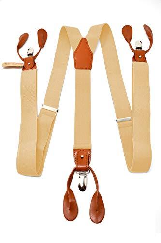 Oxford Collection Bretelle Beige di alta qualità completamente Regolabili - 3 Clip o 6 Bottoni (personalizzabili)- Forma di Y - Classiche, Eleganti e Moderne