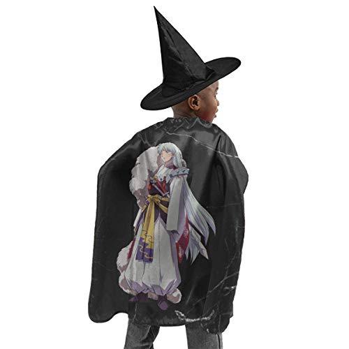 HYJUK Sesshomaru Inuyasha Cartoon Anime 3D Disfraz de Halloween para nios Capa de Mago Sombrero de Bruja de Halloween Disfraz de Fiesta para nia y nio Negro