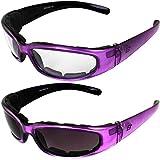2 Pairs of Birdz Eyewear Chill Women's Motorcycle Sunglasses Padded Purple Frames Clear & Super Dark Lenses