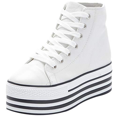 Jamron Mujer Suela Doble Plataforma Alta Zapatos de Lona Tacón de Cuña Baja con Cordones Enredaderas Zapatillas de Deporte de Moda Blanco SN625-1 EU36