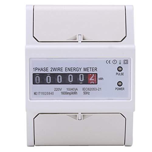 Medidor eléctrico de carril DIN, monofásico, 2 cables, carril DIN, medidor electrónico de energía KWh, LCD digital (10-40A)