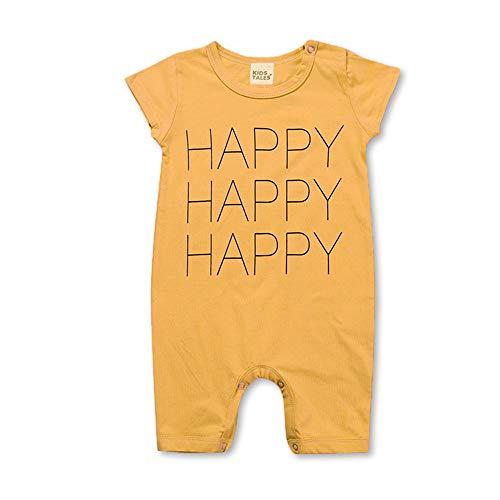 Chickwin Baby Body Strampler Unisex, Mädchen Junge Sommer Kurzarm Baumwolle Spielanzug Schlafanzug für Neugeborene,Babies und Kleinkinder in Verschiedenen Größen (66cm,Gelb Happy)