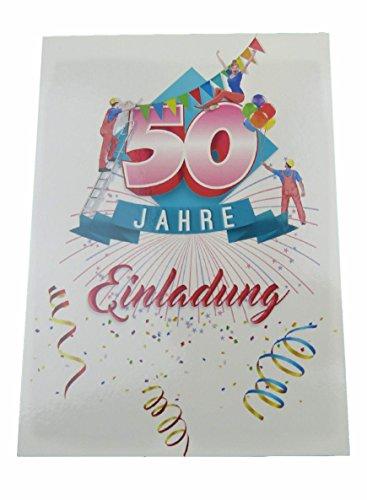Einladung Karten 50 Geburtstag mit Text auf der Rückseite. 50 Jahre Postkarten 20 Stück im Set zum runden Geburtstag. Ausfüllen, überreichen oder mit der Post verschicken. (50 Geburtstag - 20 Stück)