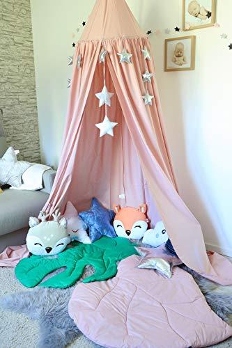 Babymajawelt® Betthimmel 2in1 Baldachin GLAM! XXL Stars (Sterne) - Kinderzimmer Zelt zum Aufhängen, Kinderzelt, Babybett Himmel, Versteck, Moskitonetz, Spielecke (Puderrosa)